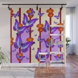 CATCHING PURPLE BUTTERFLIES IN  FLORAL ORANGE CAGE Wall Mural