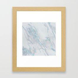 Marble Love Sea Blue Metallic Framed Art Print