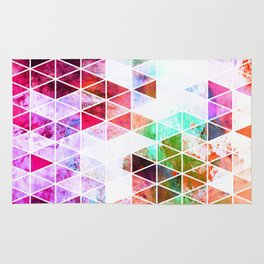 Pink Grungy Triangle Design Rug