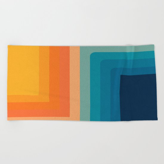 Retro 70s Color Lines Beach Towel