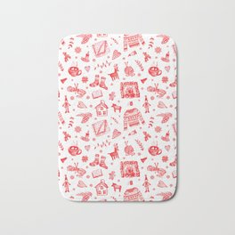 Cozy Hygge Elements in Red + White Bath Mat