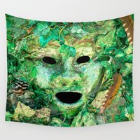 mythology Wall Tapestries featuring MASKED by Catspaws