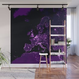 Earth Night Lit Up : Purple Wall Mural