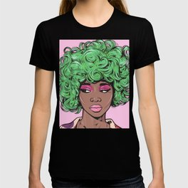 Green Kawaii Black Comic Girl T-shirt