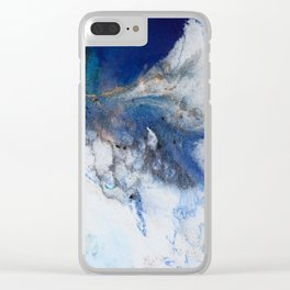 Abstract blue marble Clear iPhone Case