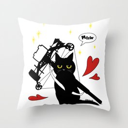 Black Cat with crossbow Throw Pillow