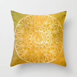 Fire Blossom - Yellow Throw Pillow