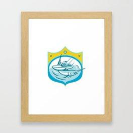Blue Marlin Charter Fishing Boat Retro Framed Art Print