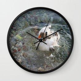 Duck Splashing Water Creating Ripples on Riverbank Wall Clock