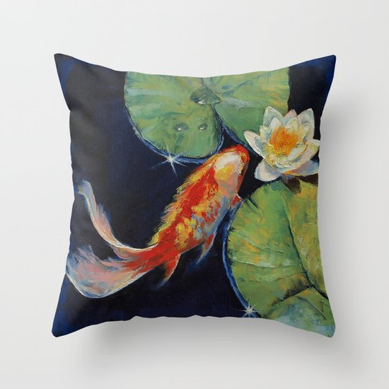 Koi and white lily throw pillow by michael creese society6 for Koi fish pillow