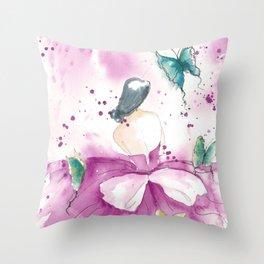 Ballerina with Butterflies Throw Pillow