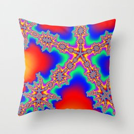Colorful Fractal #2 (Star) Throw Pillow
