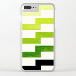 Minimalist Mid Century Modern Sap Green Watercolor Painting Lightning Bolt Zig Zag Pattern With Blac Clear iPhone Case