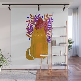 Cat and foliage - ochre and purple Wall Mural