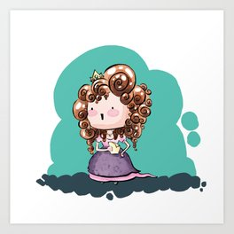 Eli - Curly hair princess for MM Art Print