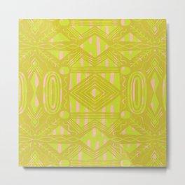 vintage kantha: chartreuse Metal Print