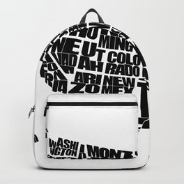 USA Word Map - Black and White Backpack