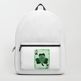 Skull Ace Card Irish luck St. Patricks Day Backpack