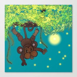 swinging little monkey Canvas Print