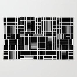 Map Lines Black Rug