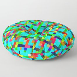 geometric pixel square pattern abstract background in green yellow blue orange Floor Pillow