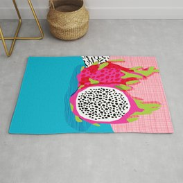 Hard Core - memphis throwback retro neon tropical fruit dragonfruit exotic 1980s 80s style pop art Rug