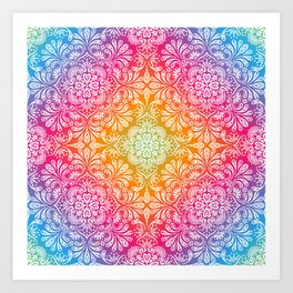 rainbow aura mandala Art Print