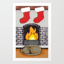 Canine Christmas (Fireside) Art Print