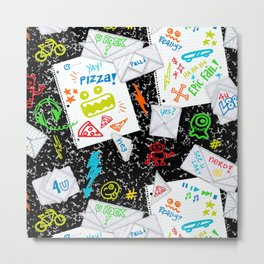 Passing Notes in Class // Old School Origami with Hand Drawn Doodles Metal Print