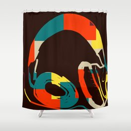 Funky Headphones for all Your Beats #DigitalArt #Cool Shower Curtain