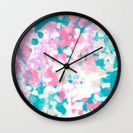Rhea - abstract minimal painting pink and blue gender neutral nursery Wall Clock