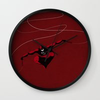 daredevil Wall Clocks featuring My Daredevil by Osvaldo Casanova