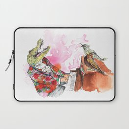 Piano Playing Alligator in a Floral Blazer, with Backup Singing Birds Laptop Sleeve