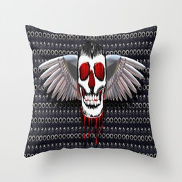 Skull with chromed wings on leather illustration Throw Pillow