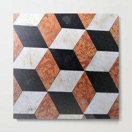 Red Orange Black White Geometric Pattern Metal Print