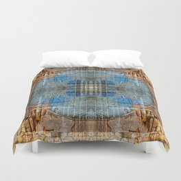 OLD BRICK WALL AND BLUE TARP WINDOW BHAKTAPUR NEPAL Duvet Cover