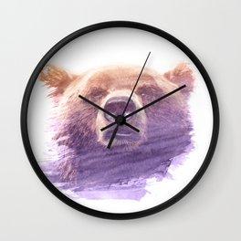 BEAR SUPERIMPOSED WATERCOLOR Wall Clock