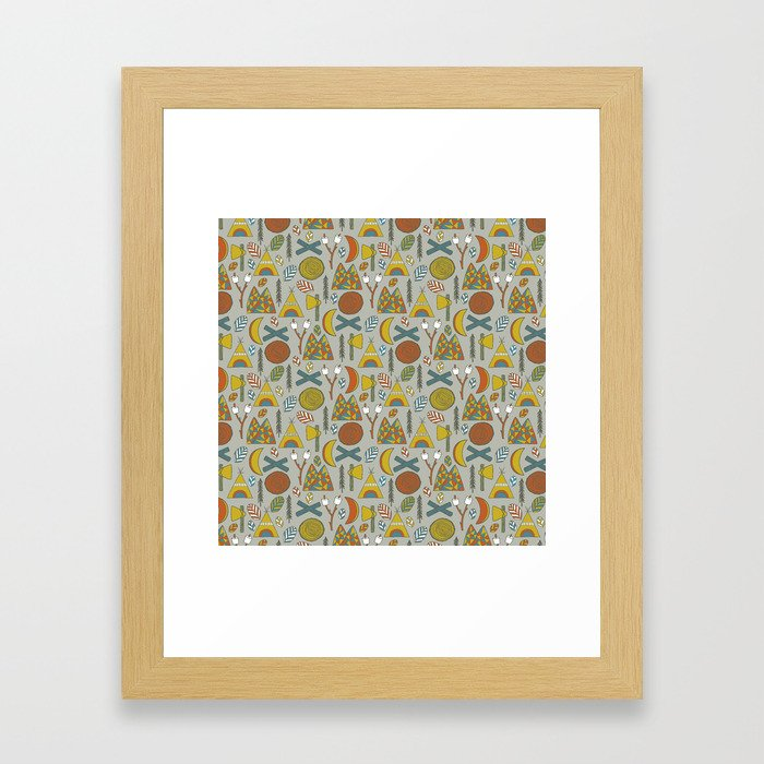 Out in the Woods Camping Framed Art Print