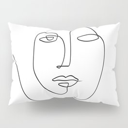 Abstract face One Line Art Pillow Sham