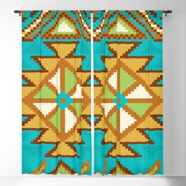 Native Aztec Tribal Turquoise Pattern Blackout Curtain