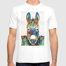Colorful Donkey Art - Mr. Personality - By Sharon Cummings X-LARGE Mens Fitted Tee White