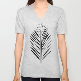 Black and White Redwood Leaf Unisex V-Neck
