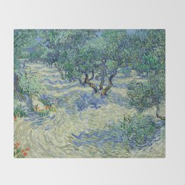 Olive Orchard by Vincent van Gogh Throw Blanket