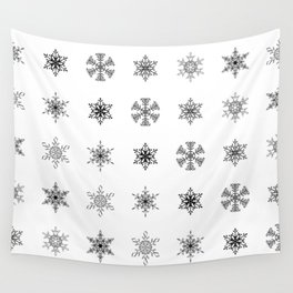 Snowflake Pattern - Black and white winter snowflake pattern artwork Wall Tapestry