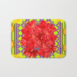 Reddish Flowers & Yellow Amaryllis Green Art Design Bath Mat