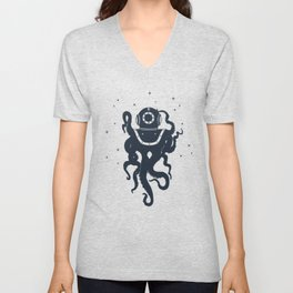 Creative Illustration With Octopus In Diving Helmet.  Adventure, And Nautical Unisex V-Neck