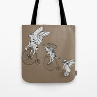 steam punk Tote Bags featuring Steam Punk Pets by Rebecca Pocai
