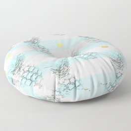 Pineapple express - aqua stripe gold splat Floor Pillow