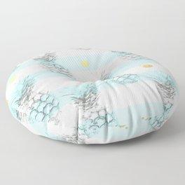 Pineapple express - aqua stripe gold splat Floor Pillow