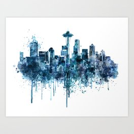 Seattle Skyline monochrome watercolor Art Print